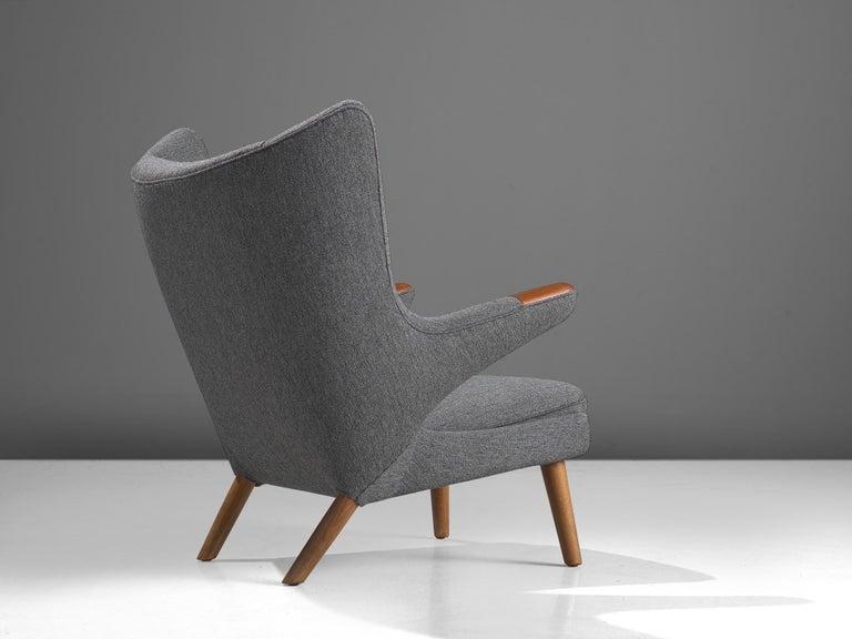 Danish Hans Wegner Papa Bear Chair in Grey Upholstery For Sale