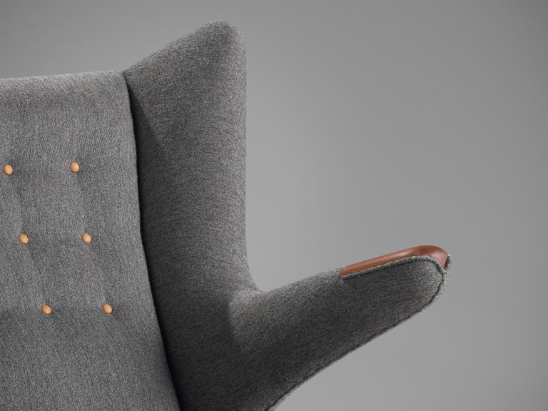 Mid-20th Century Hans Wegner Papa Bear Chair in Grey Upholstery For Sale