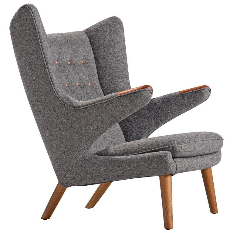 Hans Wegner Papa Bear Chair in Grey Upholstery For Sale