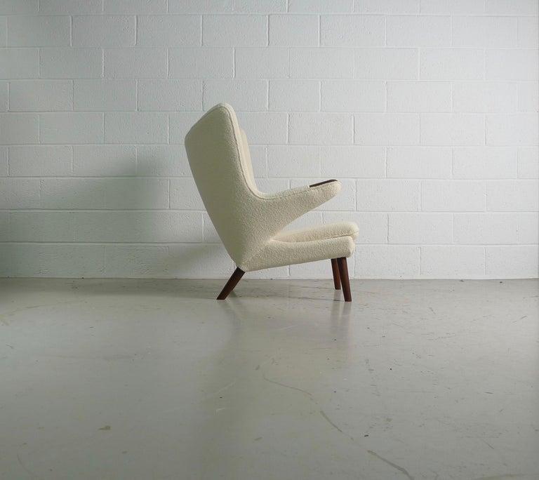 Danish Hans Wegner Papa Bear Chair in white Boucle, 1951, AP Stolen, Denmark For Sale