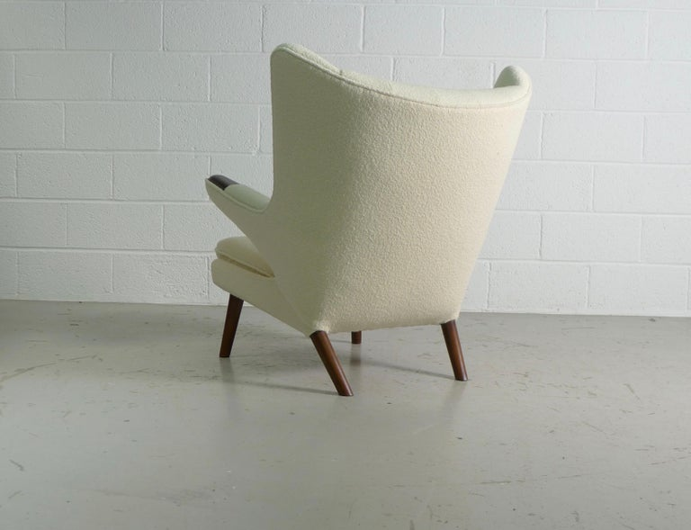 Beech Hans Wegner Papa Bear Chair in white Boucle, 1951, AP Stolen, Denmark For Sale