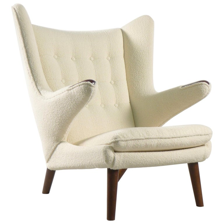 Hans Wegner Papa Bear Chair in white Boucle, 1951, AP Stolen, Denmark For Sale