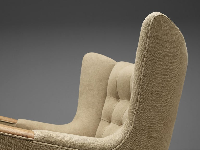 Leather Hans Wegner Papa Bear Chair Reupholstered in Beige Upholstery For Sale