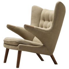 Hans Wegner Papa Bear Chair Reupholstered in Beige Upholstery