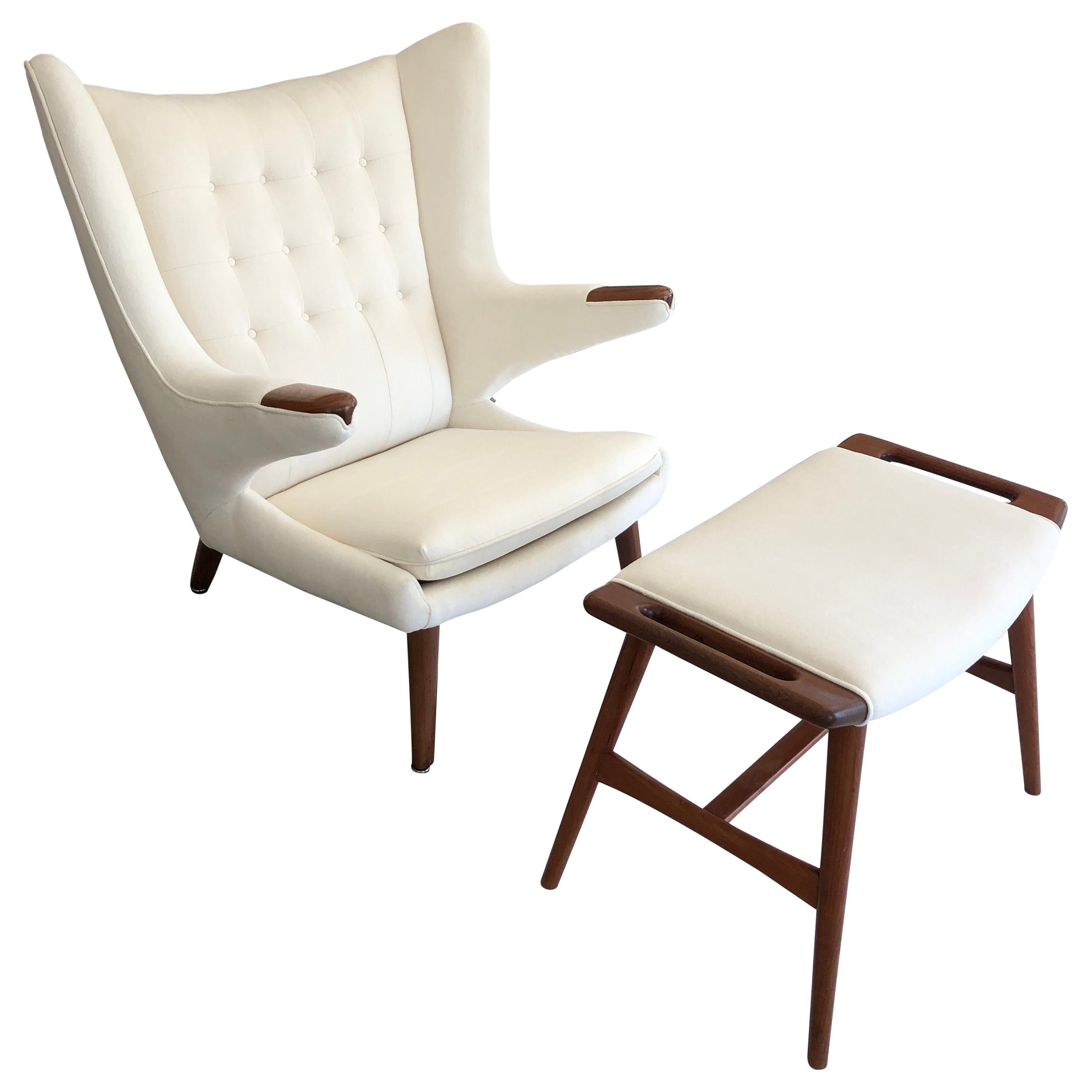 Astonishing Hans Wegner Papa Bear Chair With Ottoman Ibusinesslaw Wood Chair Design Ideas Ibusinesslaworg