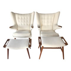 Hans Wegner Papa Bear Chair with Ottoman