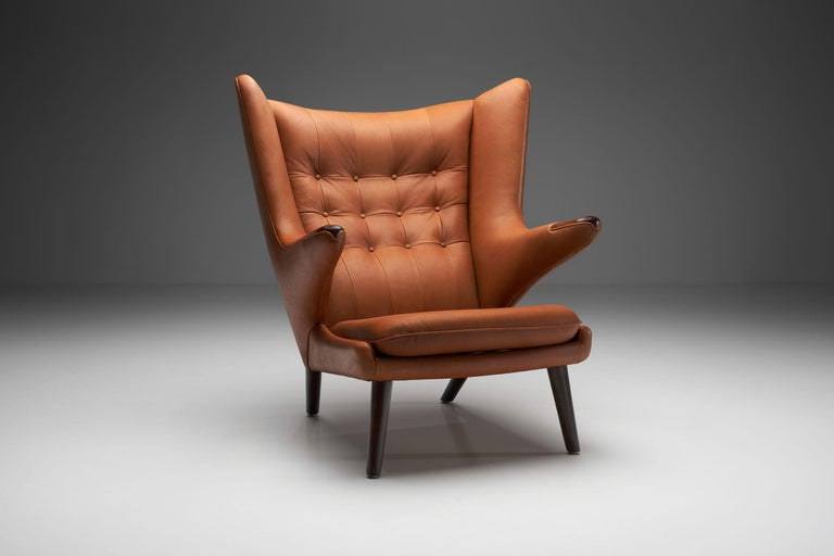 "An original ""Papa Bear Chair"" by Danish design master Hans Wegner designed for the Danish furniture maker A.P. Stolen in 1951. While Wegner is primarily known for his designs and inventiveness, functionality and comfort remain essential parts of his"