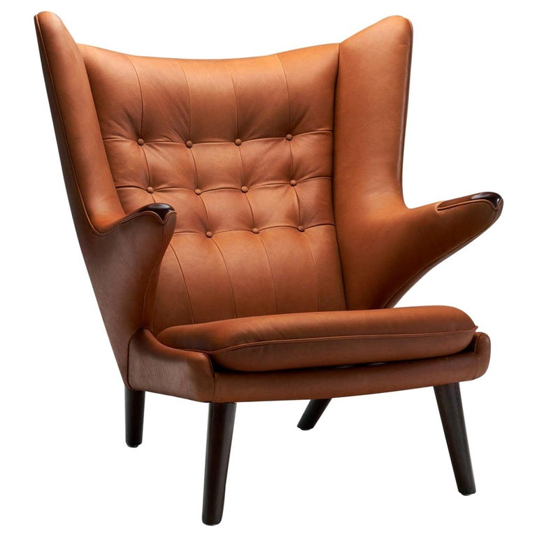 "Hans Wegner ""Papa Bear"" in Cognac Leather, Denmark, 1951 For Sale"