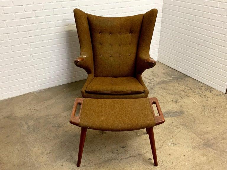 Hans Wegner Papa Bear Lounge Chair and Ottoman Povl Dinesen, Denmark For Sale 3
