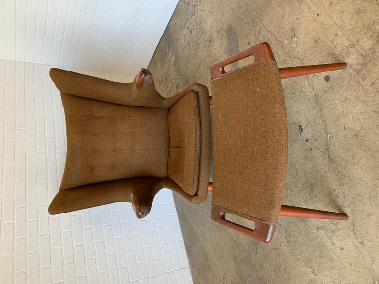 Hans Wegner Papa Bear Lounge Chair and Ottoman Povl Dinesen, Denmark For Sale 4