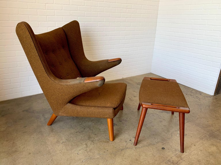 Hans Wegner Papa Bear Lounge Chair and Ottoman Povl Dinesen, Denmark For Sale 5