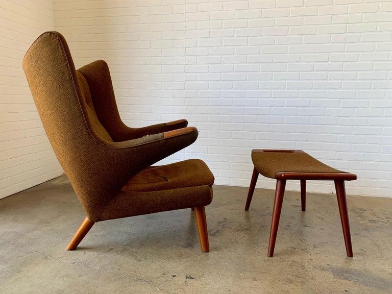 Hans Wegner Papa Bear Lounge Chair and Ottoman Povl Dinesen, Denmark For Sale 6
