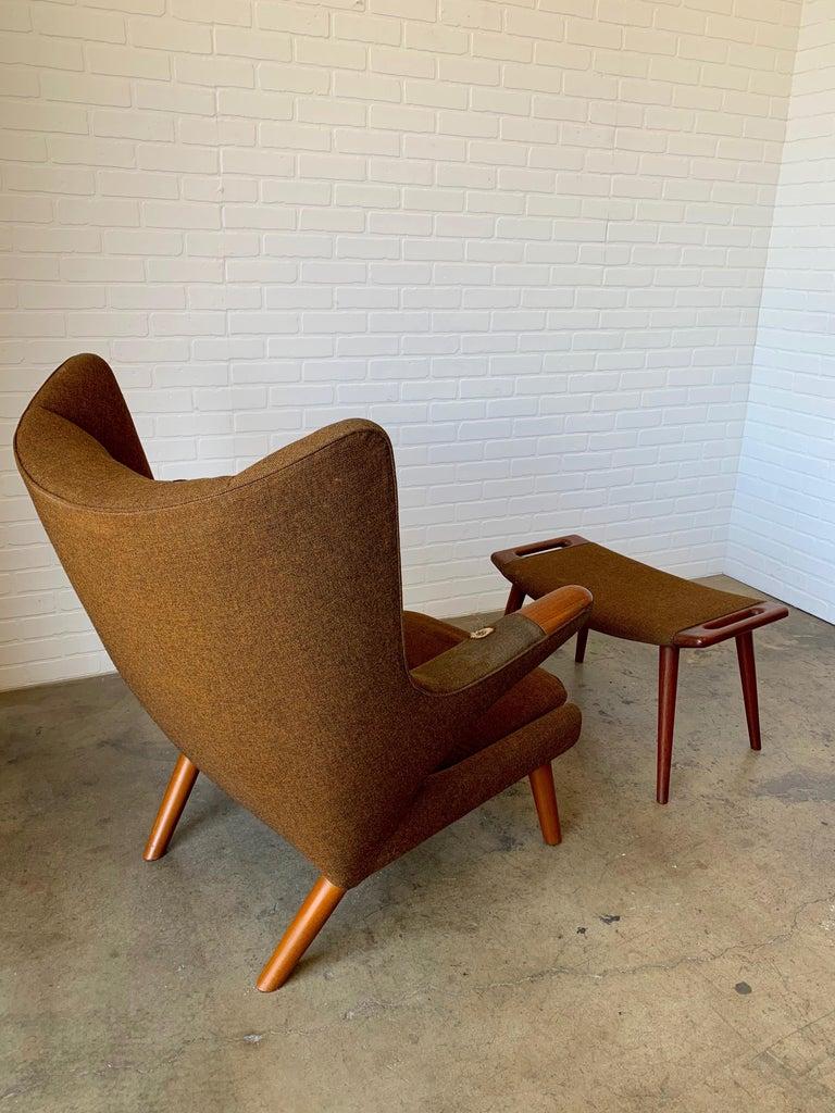Hans Wegner Papa Bear Lounge Chair and Ottoman Povl Dinesen, Denmark For Sale 7