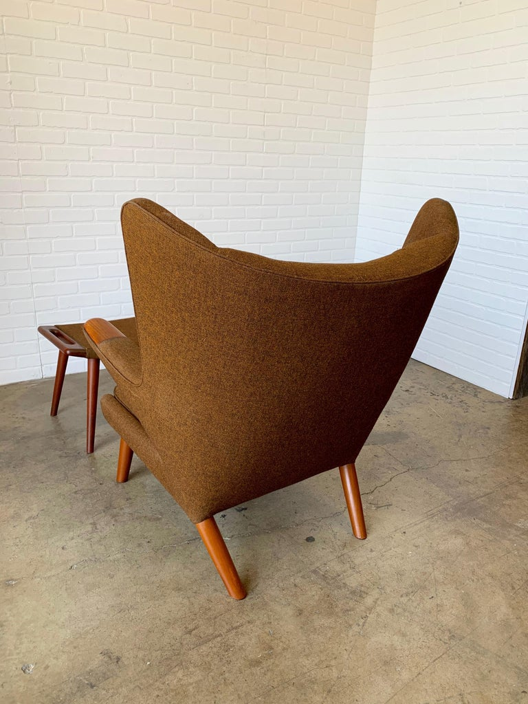 Hans Wegner Papa Bear Lounge Chair and Ottoman Povl Dinesen, Denmark For Sale 8