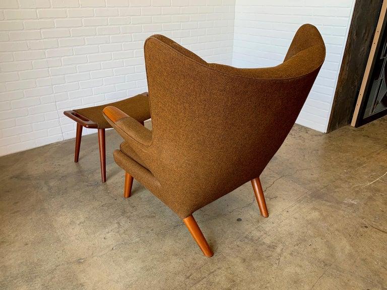 Hans Wegner Papa Bear Lounge Chair and Ottoman Povl Dinesen, Denmark For Sale 9