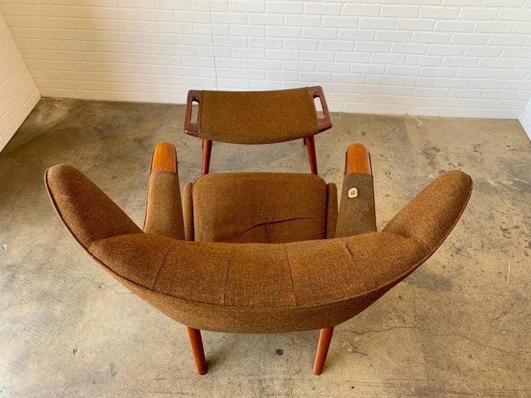 Hans Wegner Papa Bear Lounge Chair and Ottoman Povl Dinesen, Denmark For Sale 10