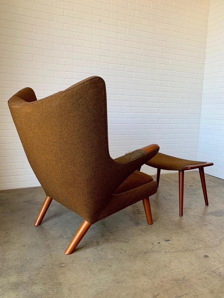 Scandinavian Modern Hans Wegner Papa Bear Lounge Chair and Ottoman Povl Dinesen, Denmark For Sale