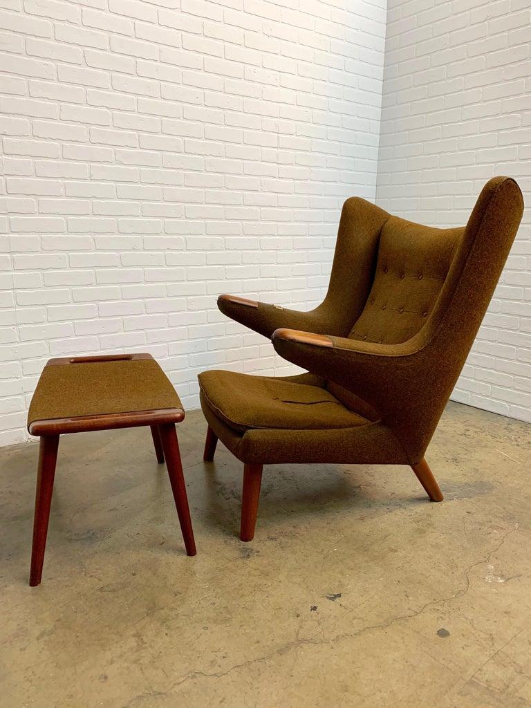 Danish Hans Wegner Papa Bear Lounge Chair and Ottoman Povl Dinesen, Denmark For Sale