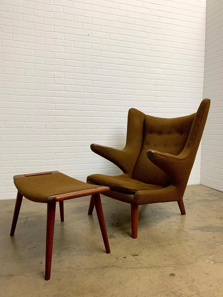 20th Century Hans Wegner Papa Bear Lounge Chair and Ottoman Povl Dinesen, Denmark For Sale