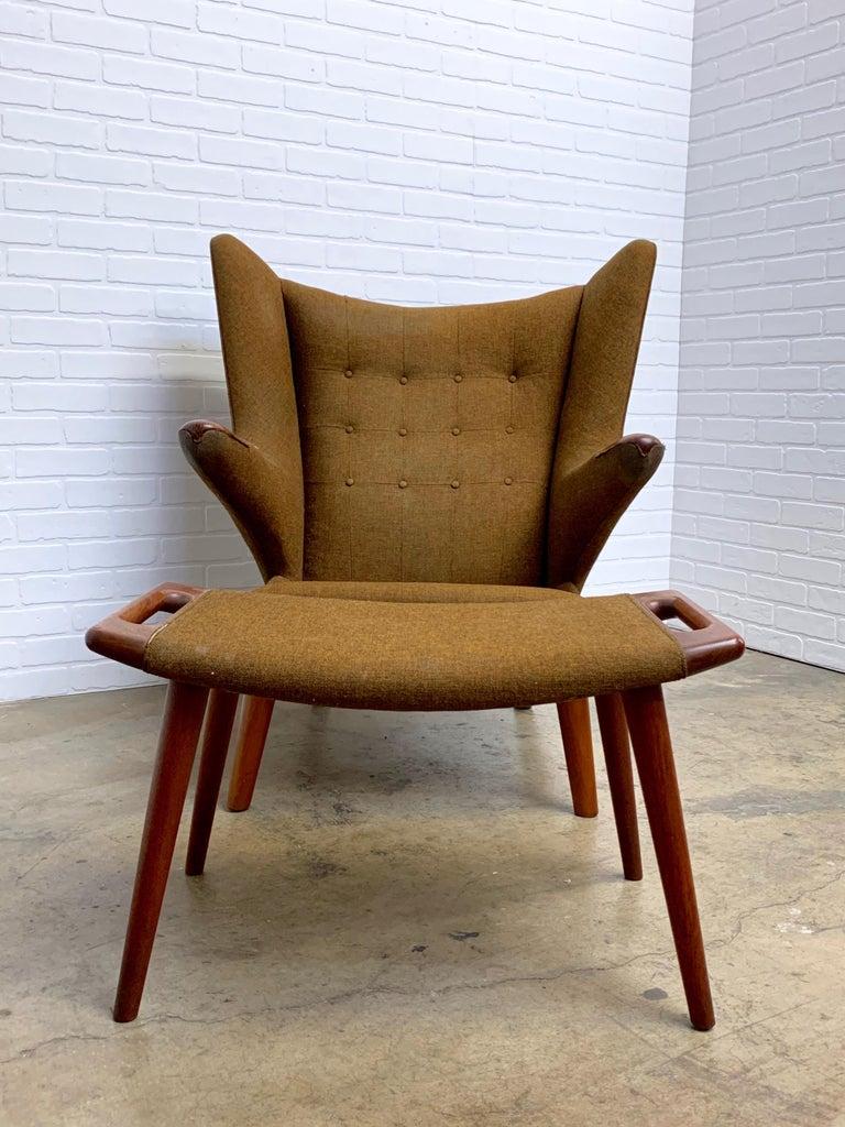 Upholstery Hans Wegner Papa Bear Lounge Chair and Ottoman Povl Dinesen, Denmark For Sale