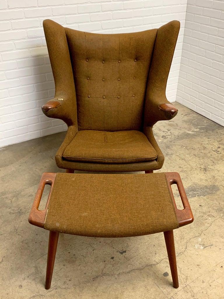 Hans Wegner Papa Bear Lounge Chair and Ottoman Povl Dinesen, Denmark For Sale 1