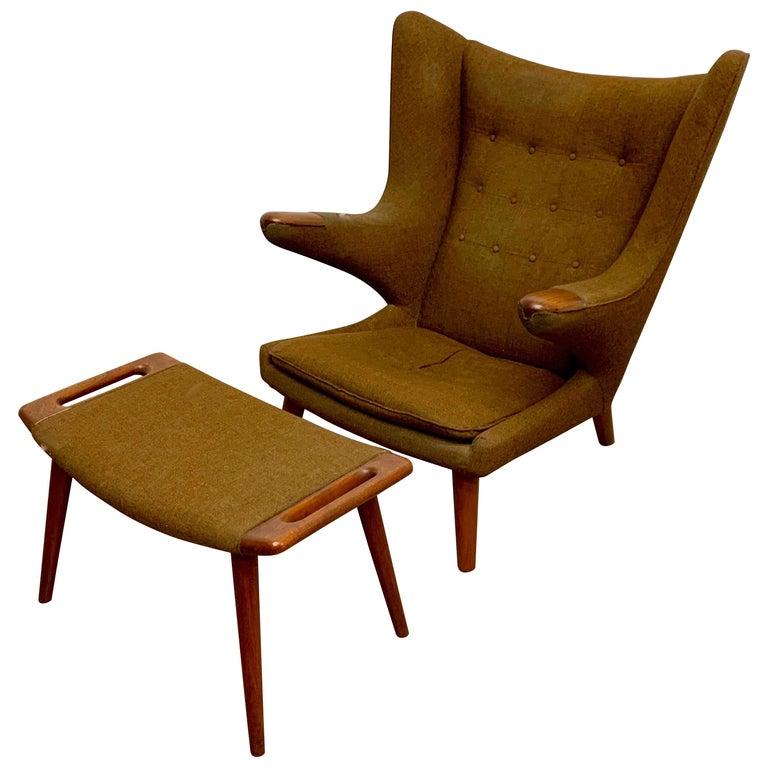 Hans Wegner Papa Bear Lounge Chair and Ottoman Povl Dinesen, Denmark For Sale
