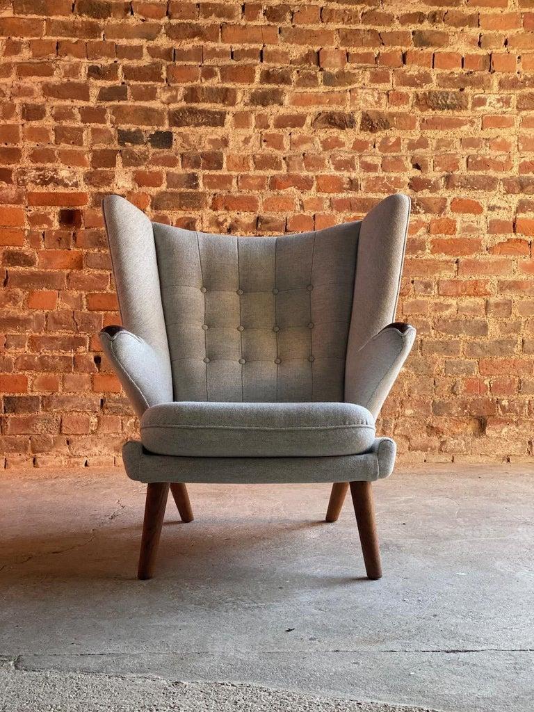 Wool Hans Wegner Papa Bear Lounge Chair Bamsestol Model AP19, Denmark, 1959 For Sale