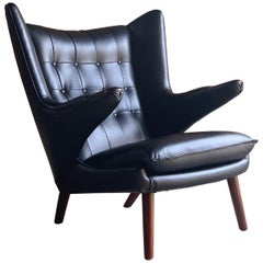 Hans Wegner Papa Bear Lounge Chair Black Leather Model AP19 Denmark, 1963