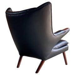 Hans Wegner Papa Bear Lounge Chair Black Leather Model AP19 Denmark, 1963