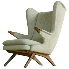 Hans Wegner Papa Bear Style Lounge Chair Model 91 by Sven Skipper, 1960s