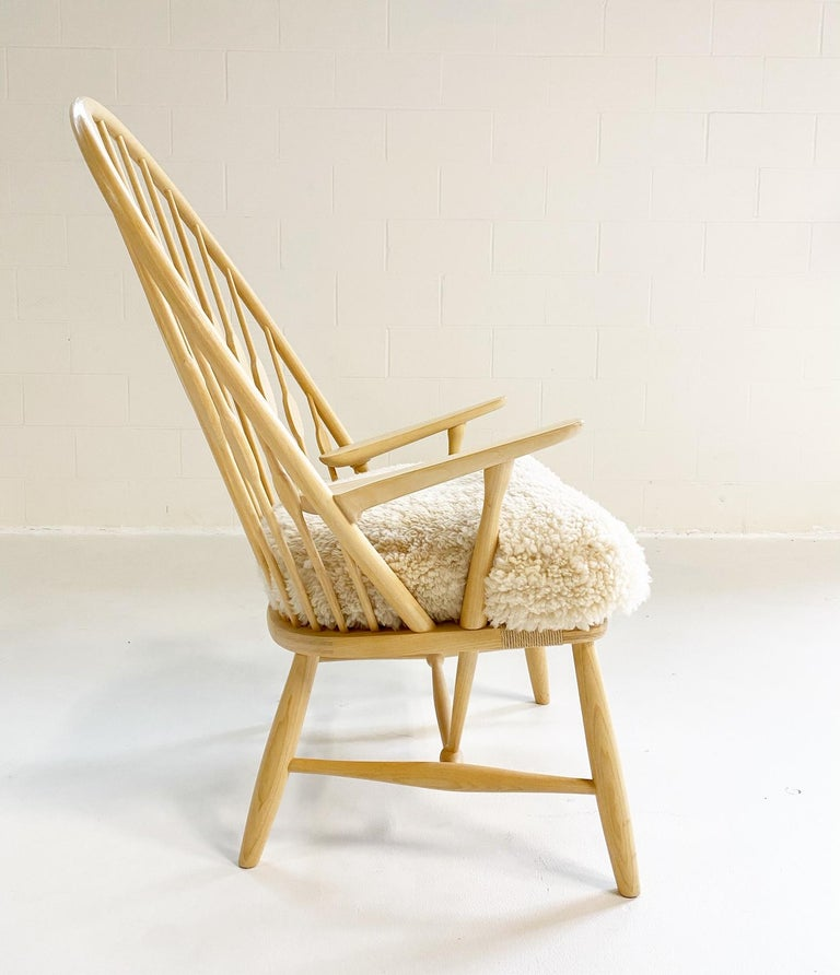 Danish Hans Wegner Peacock Chair with Custom Sheepskin Cushion For Sale