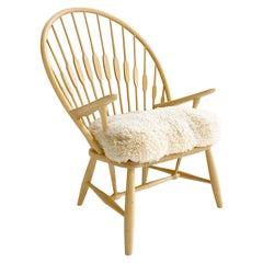 Hans Wegner Peacock Chair with Custom Sheepskin Cushion