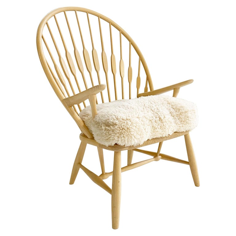 Hans Wegner Peacock Chair with Custom Sheepskin Cushion For Sale