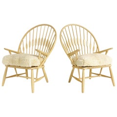 Hans Wegner Peacock Lounge Chairs with Custom Sheepskin Cushions, Pair