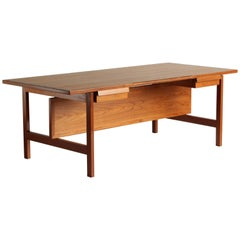 Hans Wegner, Rare Large Writing Desk, Teak, Andreas Tuck, Denmark, 1960s