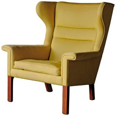 Hans Wegner, Rare Wingback Chair with Mahogany frame