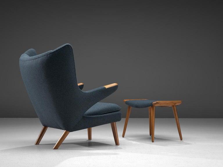 Scandinavian Modern Hans Wegner Reupholstered Papa Bear Chair with Ottoman For Sale