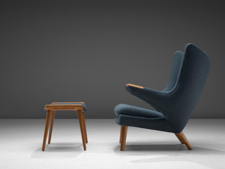 Danish Hans Wegner Reupholstered Papa Bear Chair with Ottoman For Sale