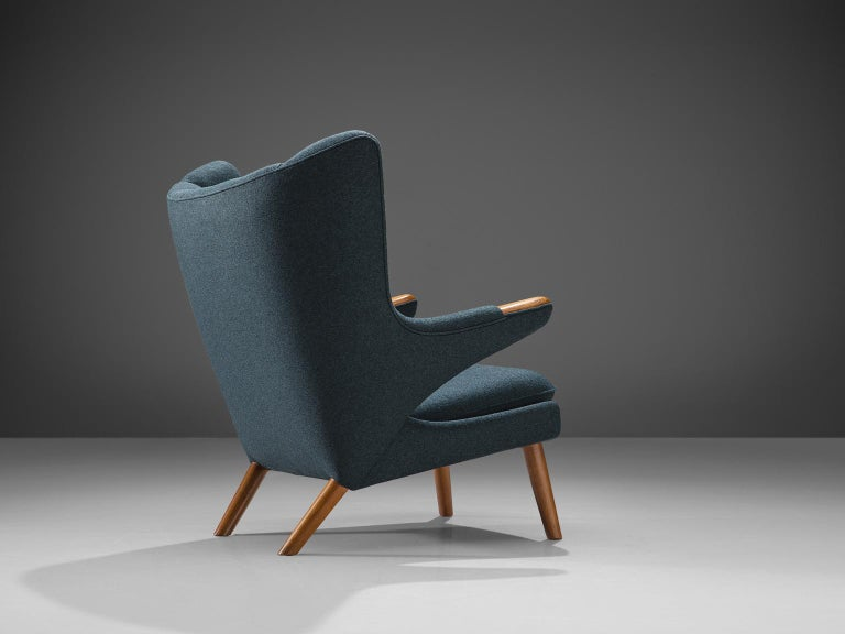 Mid-20th Century Hans Wegner Reupholstered Papa Bear Chair with Ottoman For Sale