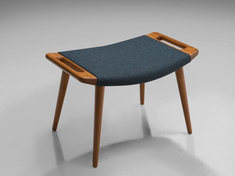 Hans Wegner Reupholstered Papa Bear Chair with Ottoman For Sale 1