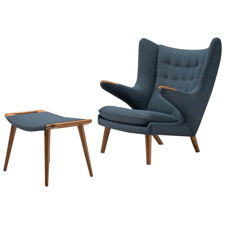 Hans Wegner Reupholstered Papa Bear Chair with Ottoman For Sale