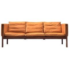 Hans Wegner Reupholstered Three-Seat Sofa in Cognac Leather