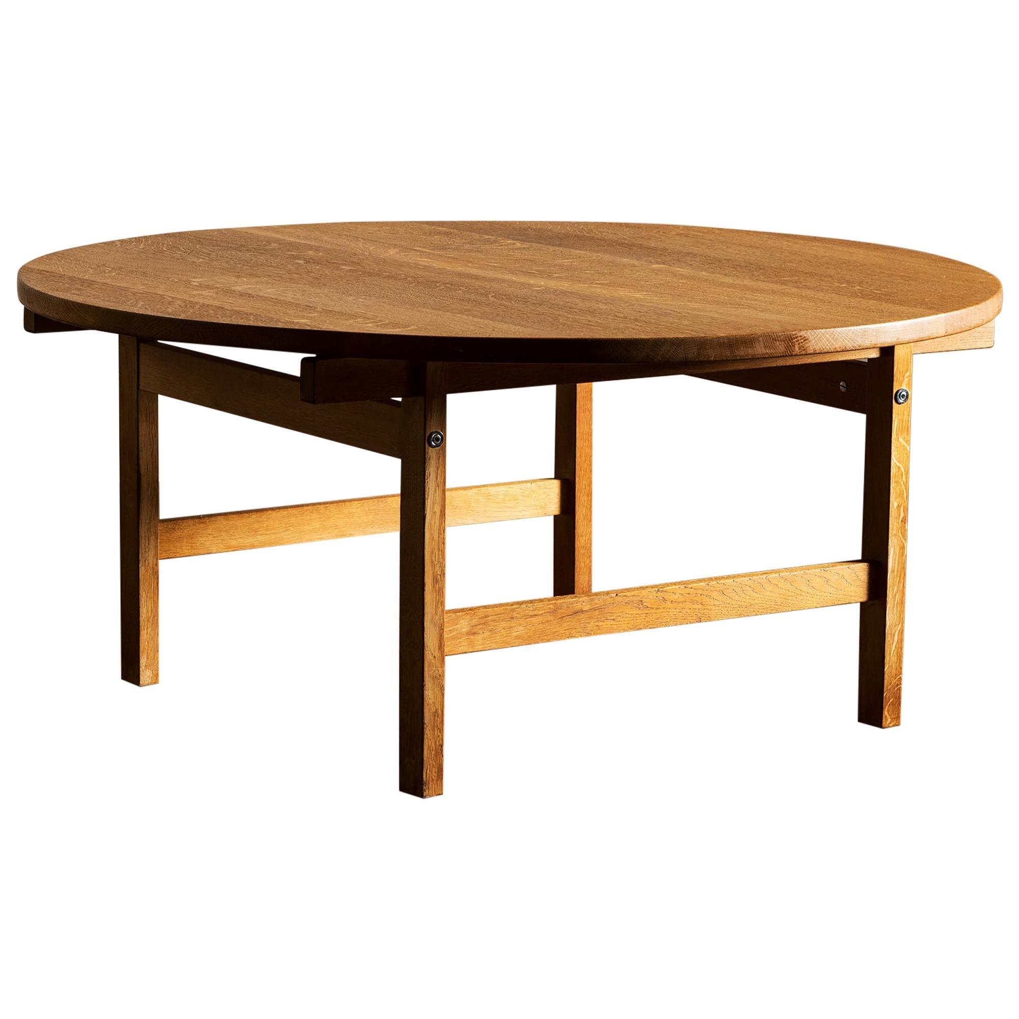Hans Wegner Round Oak Coffee Table for Andreas Tuck, Denmark, 1960s