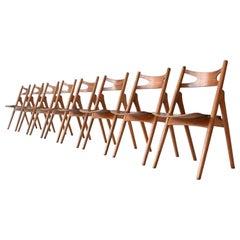 Hans Wegner Sawbuck CH29 set of dining chairs Carl Hansen & Son Denmark 1952