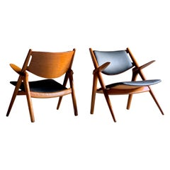 Hans Wegner Sawbuck Chairs Pair Model CH-28 by Carl Hansen, 1950s