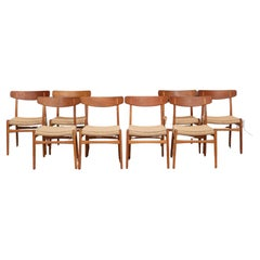 Hans Wegner Set of Eight Dining Chairs Model CH-23