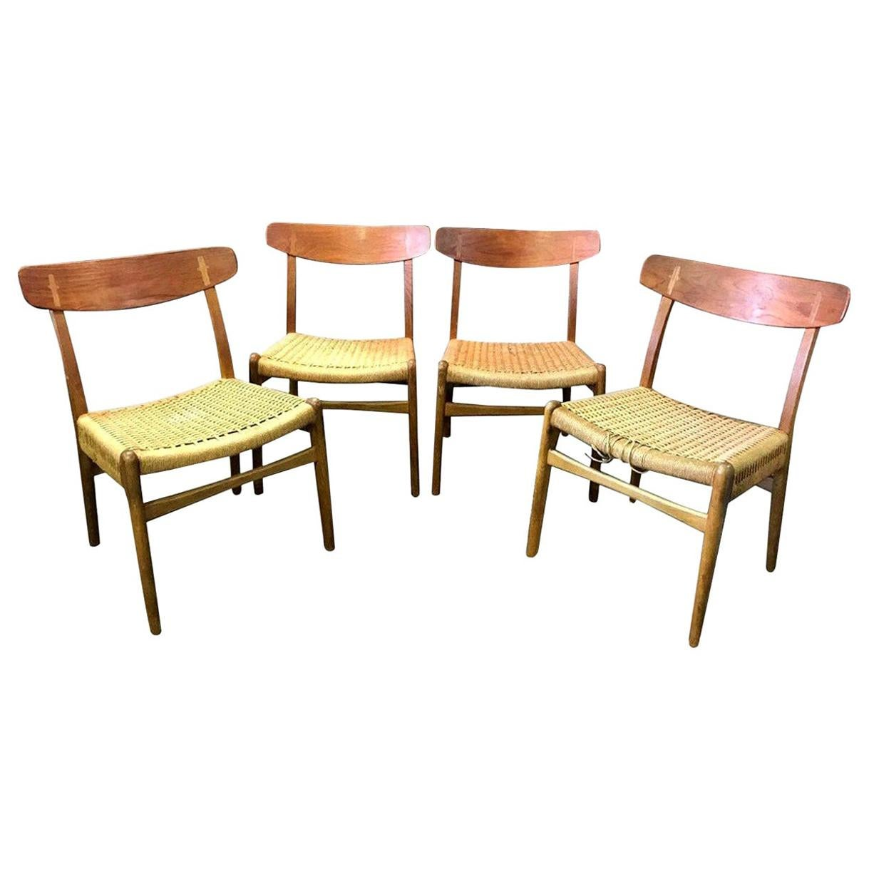 Hans Wegner Set of Four Mid-Century Modern Classic CH23 Dining Chairs