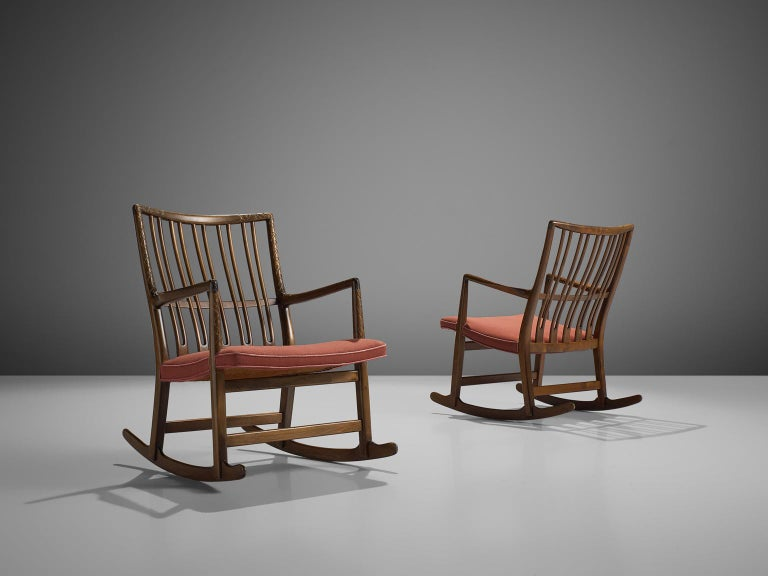 Hans Wegner for Mikael Laursen, set of two beech rocking chairs model ML-33, Denmark, 1940s.