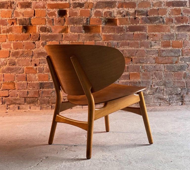Hans Wegner shell chair Model FH 1936 for Fritz Hansen midcentury Danish, circa 1950  Hans J Wegner Model FH1936 Shell chair by Fritz Hansen made in Denmark circa 1950, designed 1948 and manufactured by Fritz Hansen laminated plywood, beech. This