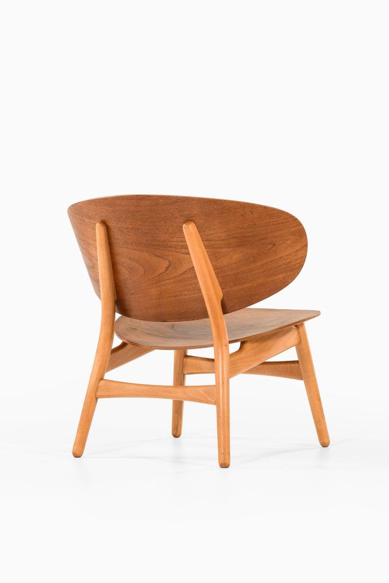 Teak Hans Wegner Shell Easy Chair Model 1936 Produced by Fritz Hansen in Denmark For Sale